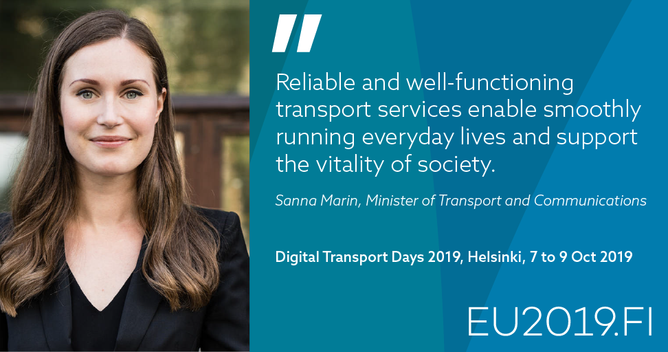 Minister of Transport and Communications Sanna Marin, Digital Transport Days 2019 (Photo: Ministry of Transport and Comunications)