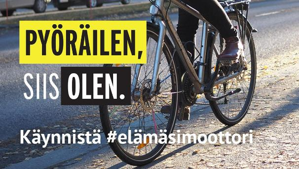 Photo: a bicycle with the campaign slogan in Finnish (Kitchen / LVM)