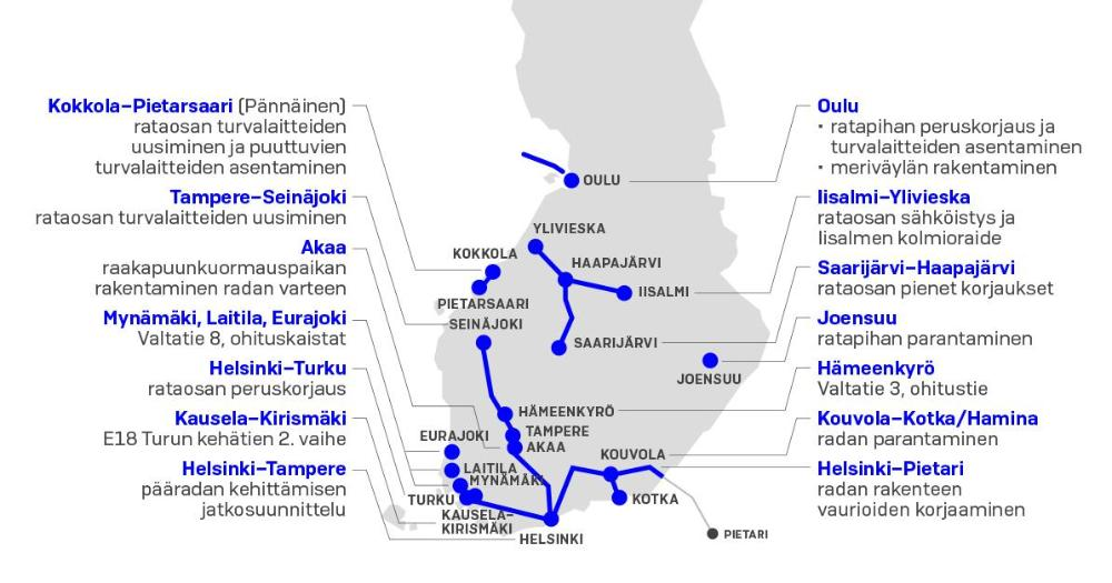 Transport development projects (Map: MINTC)