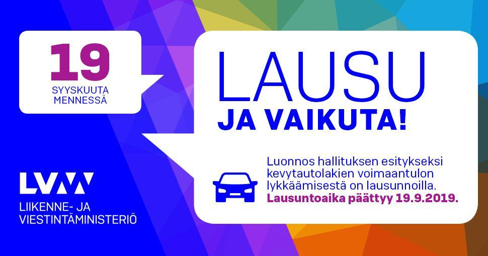 Draft proposal on postponing the entry into force of the Act on Lightweight Vehicles circulated for comments (in Finnish) (LVM)