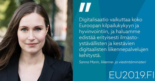 Minister Sanna Marin to attend the Transport and Telecommunications Council