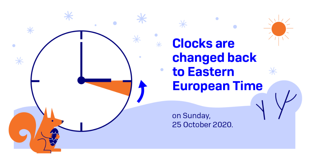 Clocks are changed back to Eastern European Time 25.10.2020 (Photo: Ministry of Transport and Communications)