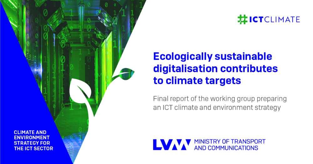 Final report of the working group on a climate and environment strategy for the ICT sector. (Picture: Ministry of Transport and Communications)