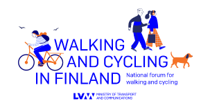 Cyclist, pedestrians and dog. (Picture: Ministry of Transport and Communications, illustration Kati Närhi)